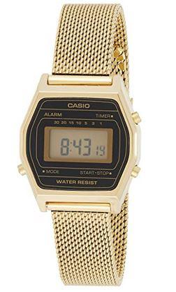 montre pour femme en acier dore avec cadran digital noir de la marque Casio