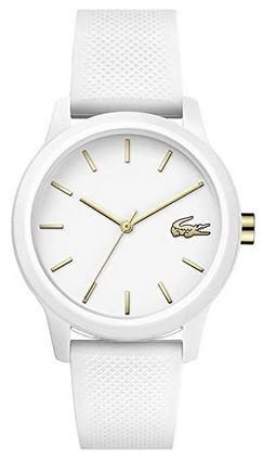 montre pour femme entierement blanche avec bracelet en silicone de la marque Lacoste