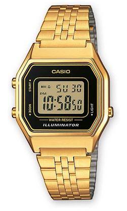 montre pour femme marque Casio noire et doree modele LA680WEGA