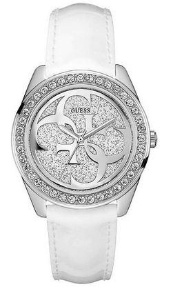montre pour femme marque Guess modele G twist bracelet cuir blanc