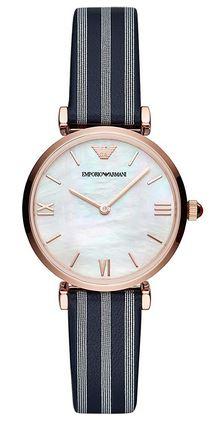 montre pour femme rose gold Emporio Armani avec bracelet fin en cuir et cadran nacre blanc