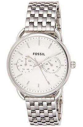 montre pour femme signee Fossil chronographe blanc et argente avec maille en acier