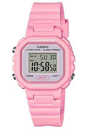 montre pour fille marque Casio avec bracelet en resine rose et cadran digitale modele LA 20WH 4A1EF