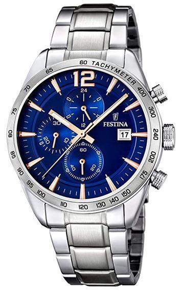 montre pour homme Festina F16759 5 chronographe avec bracelet en acier inoxydable et cadran bleu