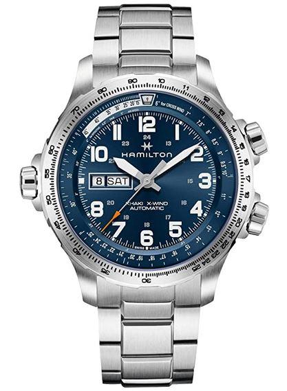 montre pour homme Hamilton X wind en argent avec cadran chronographe