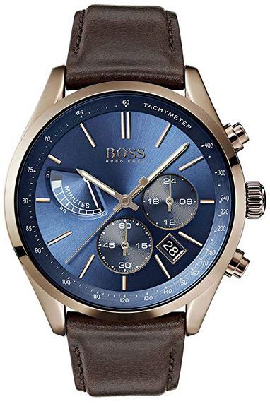 montre pour homme Hugo Boss cadran bleu et bracelet en cuir modele 1513604