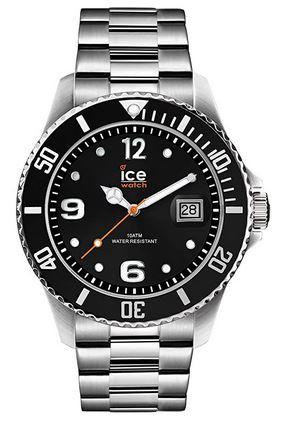 montre pour homme Ice Watch steel black silver avec cadran noir et bracelet de larges mailles en acier inoxydable