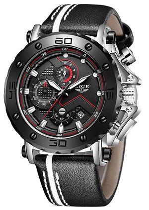 montre pour homme Lige noir avec bracelet noir et blanc en cuir