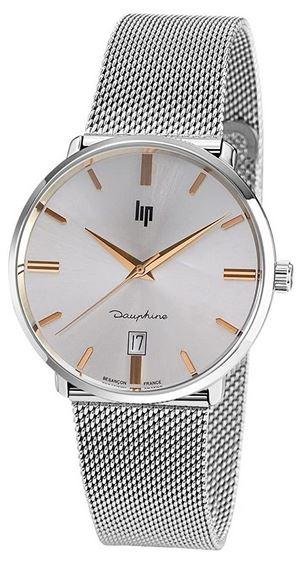 montre pour homme Lip Dauphine en metal avec mailles milanaises couleur argent