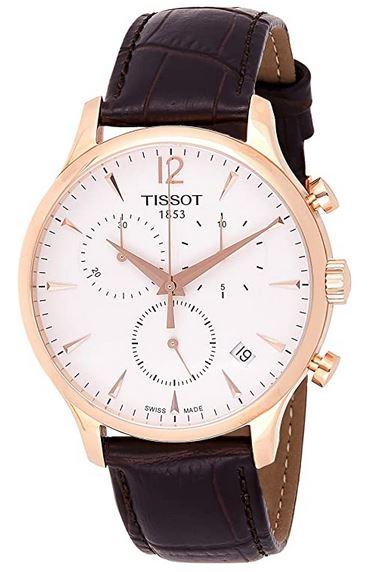montre pour homme Tissot cadran chronographe blanc et rose gold avec bracelet en cuir marron fonce