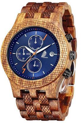 montre pour homme en bois naturel de la marque Czoka