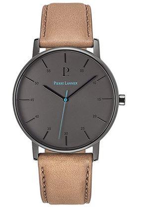 montre pour homme simple avec bracelet en cuir clair et cadran sombre de la marque Pierre Lannier
