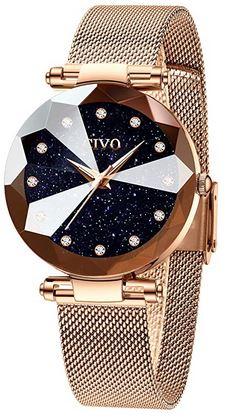 montre premier prix Civo pour femme rose gold et cadran bleu