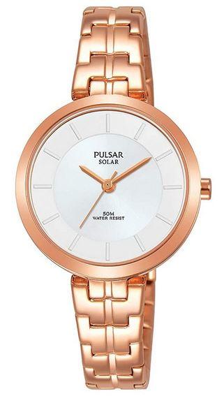 montre pulsar solaire destinee aux femmes en or rose avec un cadran blanc