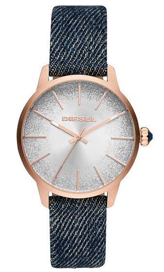 montre quartz Diesel bracelet tissu effet cadran argent nacre et boitier couleur rose gold
