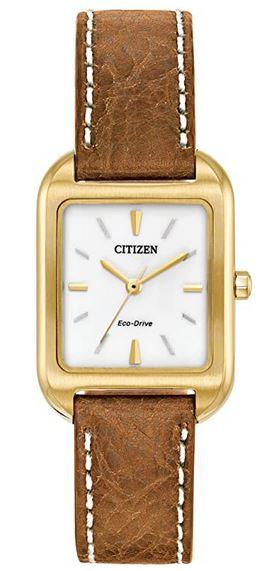 montre rectangulaire Citizen avec boitier dore et bracelet en cuir marron pour femme