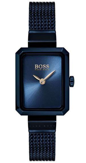 montre rectangulaire Hugo Boss pour femme bleu foncee
