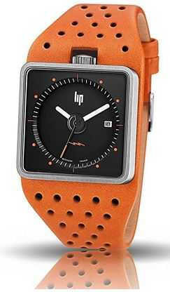 montre rectangulaire masculine Lip avec bracelet orange