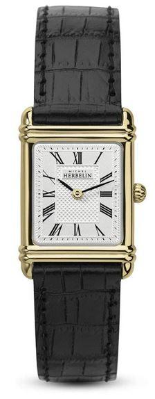 montre rectangulaire pour femme Michel Herbelin avec bracelet de cuir noir