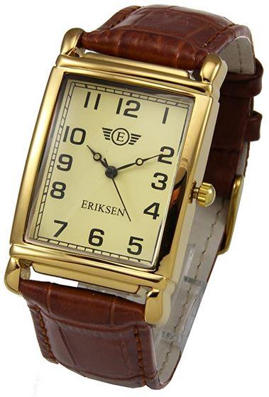 montre rectangulaire vintage Eriksen avec bracelet en cuir marron fonce