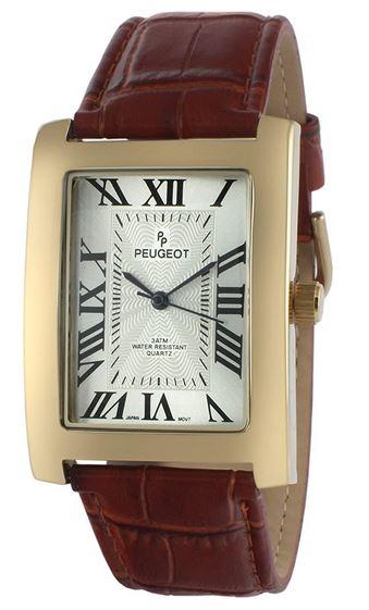 montre rectangulaire vintage Peugeot avec bracelet en cuir marron pour homme