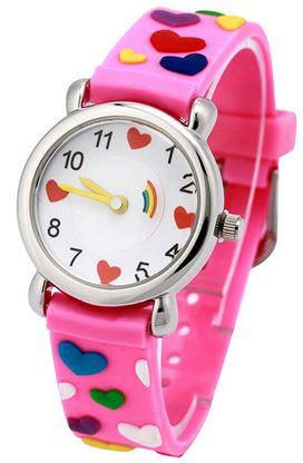 montre rose avec des coeurs multicolores pour filles