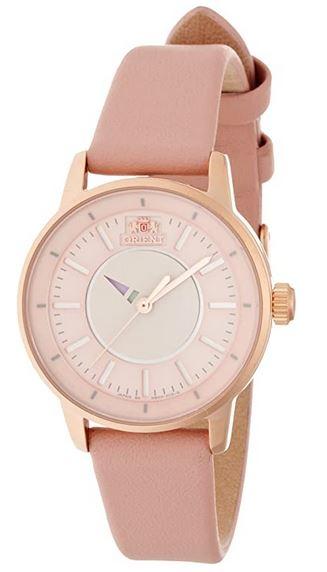 montre rose pour femme de la marque Orient avec boitier en or et bracelet de cuir rose