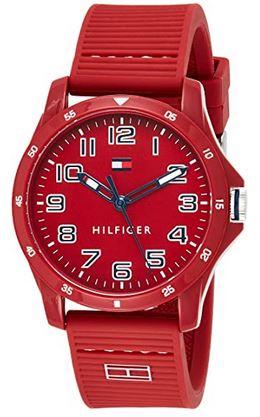 montre rouge Tommy Hilfiger pour garcon et adolescent avec bracelet en silicone
