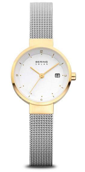 montre solaire Bering pour femme bracelet fin en mailles milanaises et cadran blanc contour dore