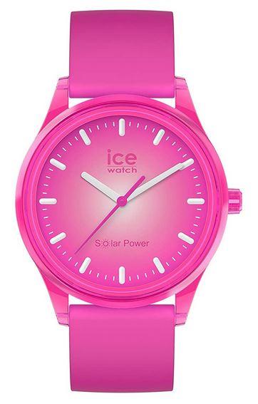 montre solaire pour femme de la marque Ice Watch rose