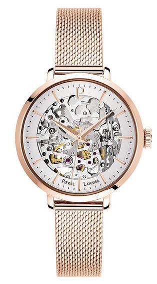 montre squelette Pierre Lannier pour femme avec bracelet et boitier rose gold
