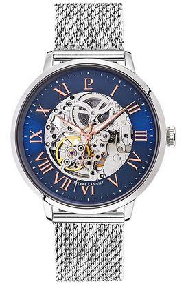 montre squelette Pierre Lannier pour homme avec bracelet en mailles argentees fines et cadran bleu