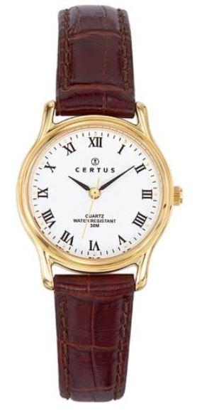 montre style ancien pour femme de Certus bracelet en cuir marron et boitier dore