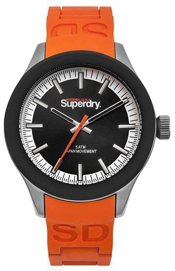 montre superdry masculine noire avec bracelet orange