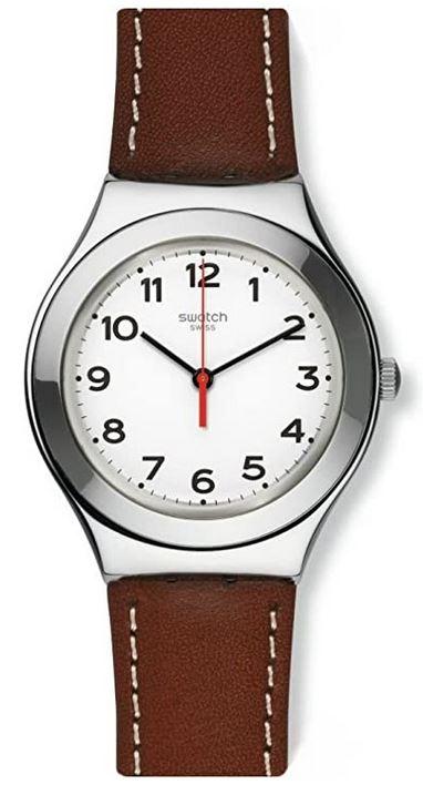 montre swatch homme YG131 avec bracelet en cuir marron