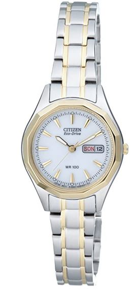 petite montre feminine marque Citizen couleur or et argent