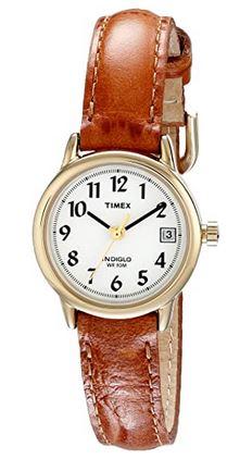 petite montre pour femme Timex avec bracelet en cuir marron tres fin et boitier couleur or