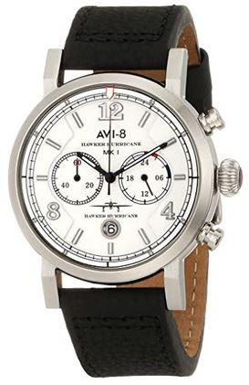 Avi 8 Hawker Hurricane montre analogique pour homme avec un cadran chronographe sur fond blanc et un bracelet noir en cuir