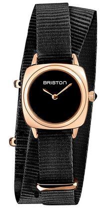 Club master Lady acier montre Briston avec un bracelet en tissu noir et un petit cadran noir et or rose pour femme