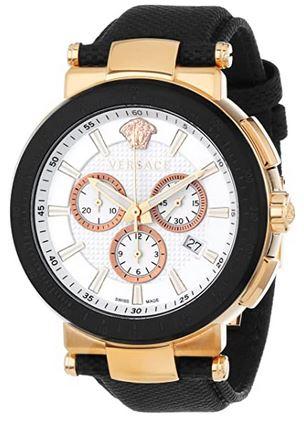 Versace Mystique montre chronographe pour homme en or plaque avec bracelet en tissu noir et boitier rose gold