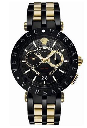 Versace VEBV00619 montre chronographe pour homme noire et doree