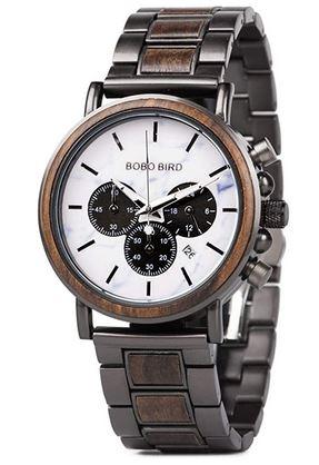 beau chronographe pour homme en bois sombre avec un cadran blanc marbre de marque Bobo bird