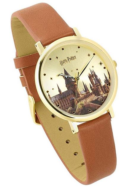 belle montre pour enfant de la saga Harry Potter avec un bracelet en cuir lisse marron clair et un boitier en acier inoxydable dore