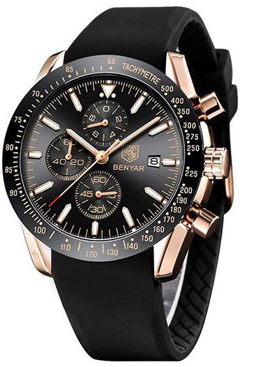 chronographe analogique pour homme de la marque By Benyar entierement noir compose de details rose gold