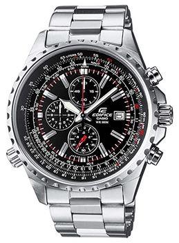 chronographe de style aviateur pour homme de la marque Casio Edifice en acier inoxydable argente modele EF 527D 1AVEF