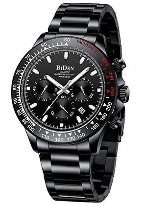 chronographe noir masculin de la marque Biden avec quelques details rouge et blanc