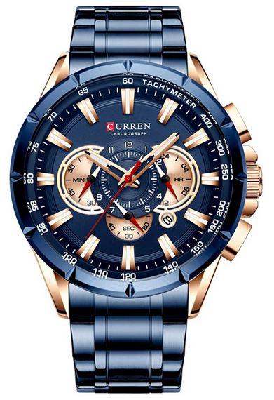 chronographe pour homme Curren bleu et rose gold avec un bracelet compose de 3 mailles modele a quartz