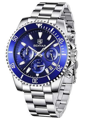 chronographe pour homme par By Benyar avec un bracelet a grosse maille argentee en acier inoxydable et un cadran bleu
