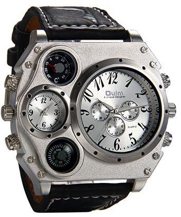 grosse montre masculine vraiment tres originale de la marque Avaner avec un cadran chronographe principal et 3 autres petits cadrans sur un large bracelet en cuir noir