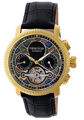 magnifique montre automatique modele Aura semi squelette de la marque de luxe Heritor modele pour homme avec cadran multicolorboitier dore et bracelet en cuir noir